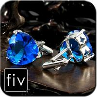 Faceted Turquoise Sapphire Heart Cufflinks