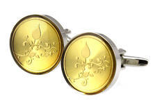 Golden Metal Flower Round Cufflinks