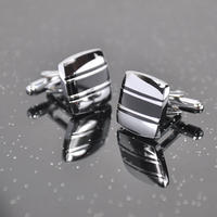 Horizontal Black Stripes Cufflinks