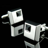 Black Crystal Square Cufflinks