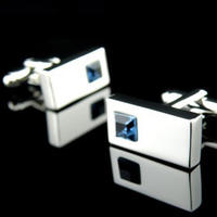 Azure Blue Crystal Cufflinks