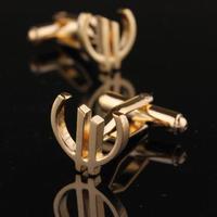 Euro Sign Gold Metal Cufflinks