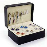 Black Cufflink and Tie Clip Box - for six pairs