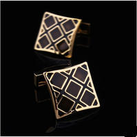 Luxury Black Gold Metal Grid Cufflinks
