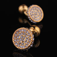 Luxury Circular Crystals Cufflinks