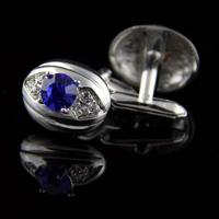 Blue Crystal Oyster Cufflinks