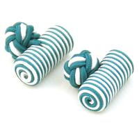 Green White Barrel Knot Cufflinks