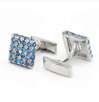 Blue Crystal Chessboard Cufflinks