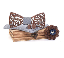 Wooden cufflinks with Veles bow tie