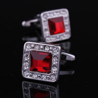 Ruby Crystal Circular Cufflinks