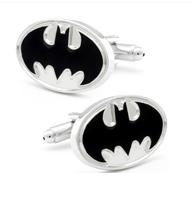 Enamel White Batman Logo Cufflinks