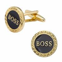 White Boss Round Cufflinks