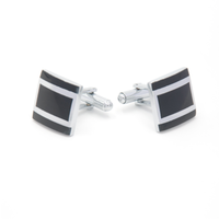 Two Silver Metal Stripes Black Square Cufflinks