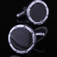 Black Checkered Pattern Round Cufflinks