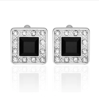 Black White Circular Crystals Cufflinks