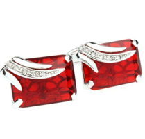 Faceted Ruby Crystal Cufflinks