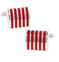 Red Stripes Steel Cufflinks