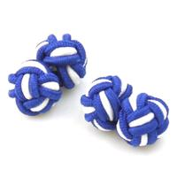 Blue White Knot Cufflinks