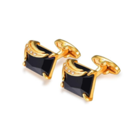 Faceted Black Crystal Cufflinks