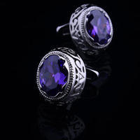 Violet Crystal Circular Ornament Cufflinks