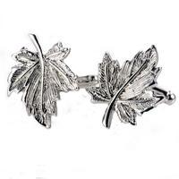 Silver Metal Maple Leaf Cufflinks
