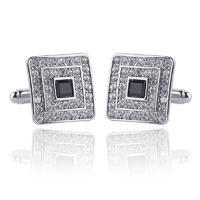 Luxury Small Crystals Square Cufflinks