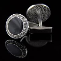 Round Black Crystal Cufflinks