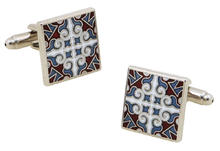 Red Blue Tile Cufflinks