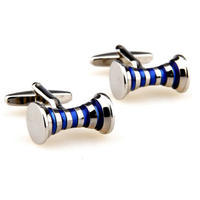 Blue Stripes Spool Cufflinks