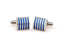 Blue Stripes Square Cufflinks