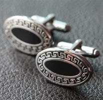 Oval Greek Pattern Cufflinks