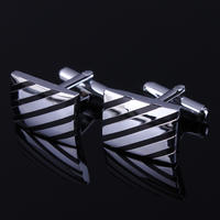 Fine Black Diagonal Stripes Cufflinks