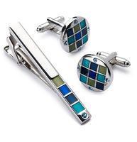 Cufflinks with blue-mosaic tie clip