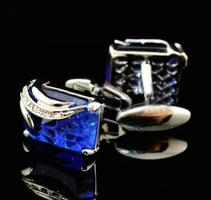 Faceted Blue Crystal Cufflinks