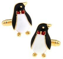 Cufflinks penguin with butterfly