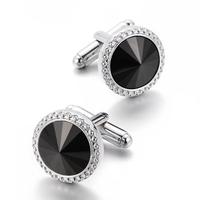 Faceted Black Eye Round Cufflinks