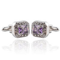Vintage Royal Violet Crystal Cufflinks