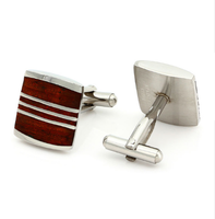 Luxury Wood Steel Cufflinks