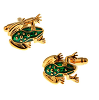 Green Frog Gold Metal Cufflinks
