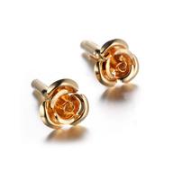 Rose Bloom Gold Metal Cufflinks