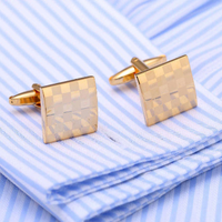 Chessboard Gold Metal Cufflinks