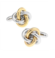 Gold and Silver Metal Knot Cufflinks