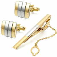 Silver Gold Metal Cufflinks and Tie Clip Set