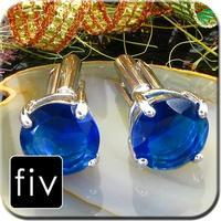 Luxury Blue Crystal Circular Cufflinks