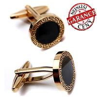 Black Circle Ancient Symbol Edge Cufflinks