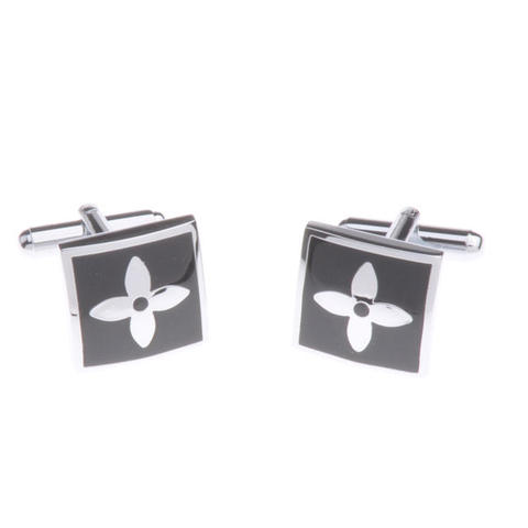 Flower in Black Square Cufflinks