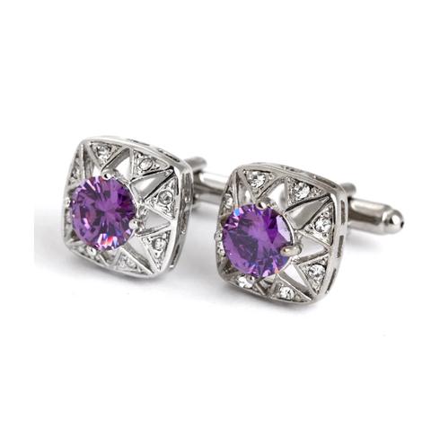 Violet Crystal Star Cufflinks - 1