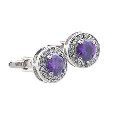 Luxury Violet Round Crystal Cufflinks - 1