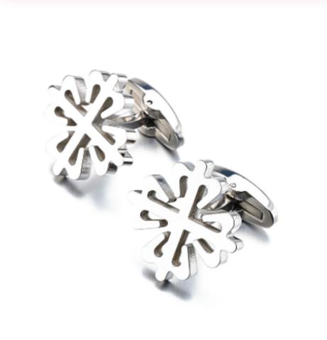 Silver snowflake cufflinks - 1