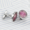 Pink oval cufflinks - 1/2
